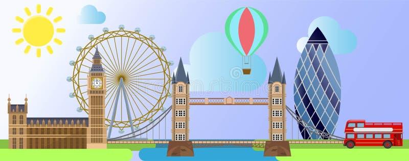 De Architectuur van Londen zoals het oogwiel van Londen, het paleis van Westminster, toeristenballon op de zonneschijn en wolkena vector illustratie
