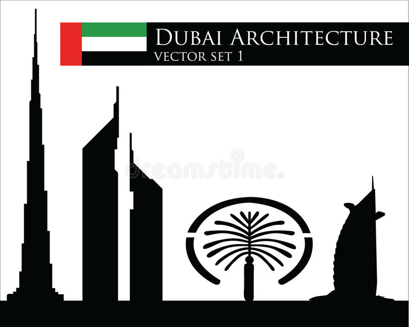 De architectuur vectorreeks van Doubai stock illustratie