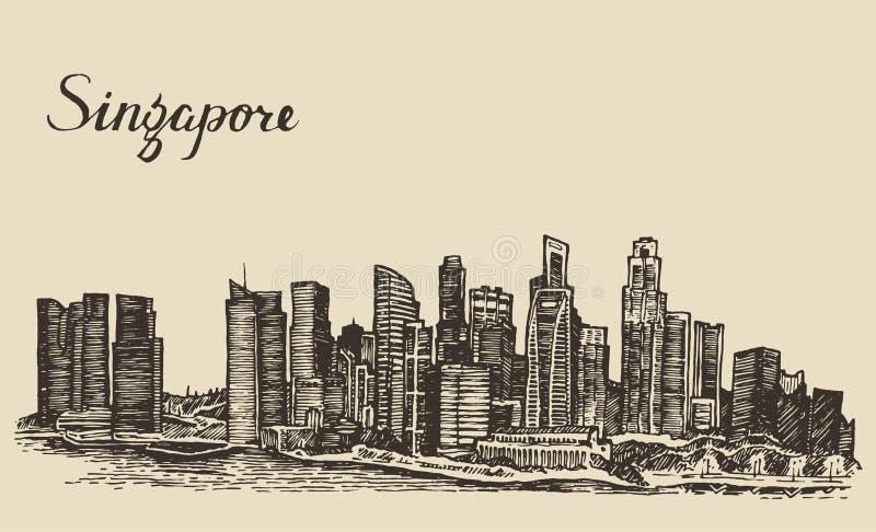 De architectuurhand getrokken schets van Singapore royalty-vrije illustratie