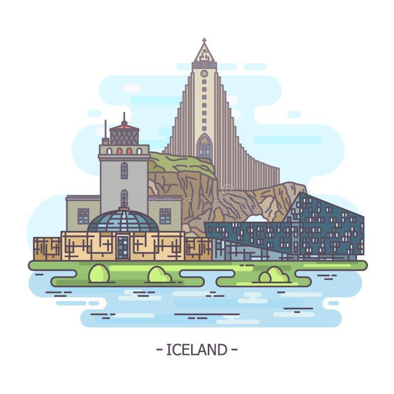 De architectuuroriëntatiepunten van IJsland, de monumenten van IJsland royalty-vrije illustratie