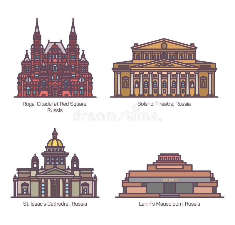 De architectuuroriëntatiepunten van kleurenrusland in dunne lijn stock illustratie