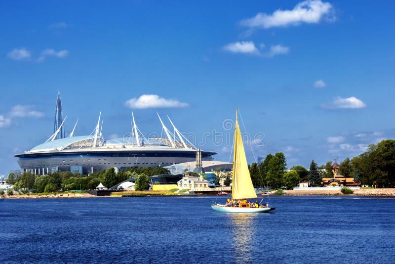 De arena Heilige Petersburg, RUSLAND van het stadionzenit - JULE 06, 2018: Krestovskystadion stock foto's