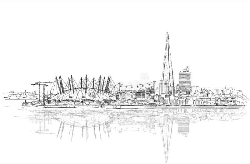 De arena van Londen en Scherf van glas, de illustratie van de Schetsinzameling stock illustratie