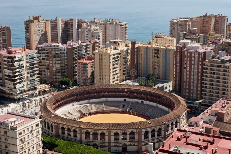 De arena van Malaga over mening royalty-vrije stock fotografie
