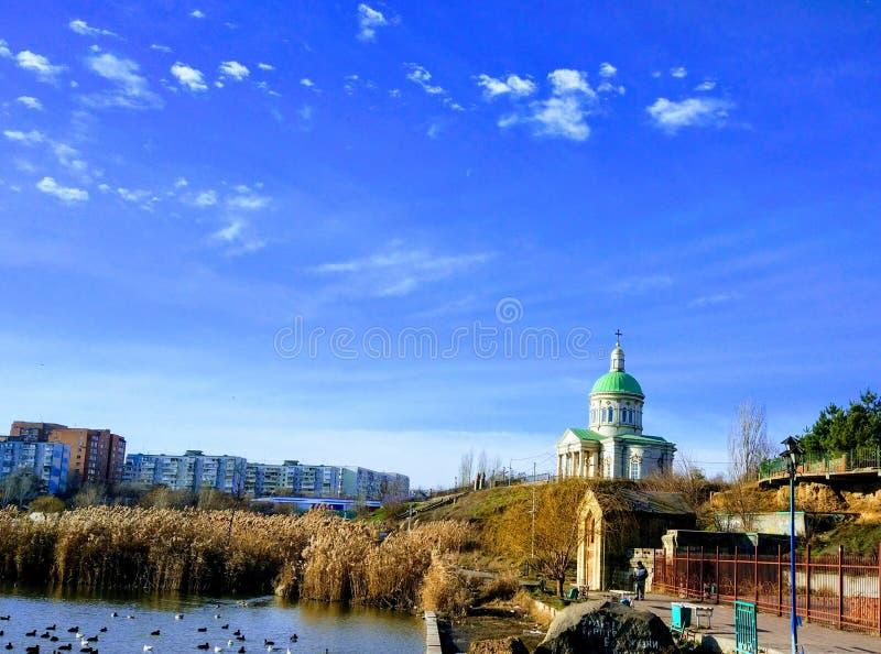 De Armeense die kerk in de stad wordt gevestigd van rostov-op-trekt aan stock afbeelding