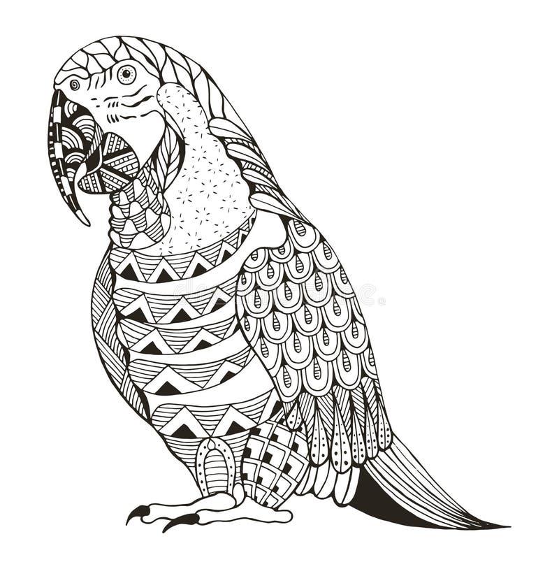 De aronskelkenpapegaai zentangle stileerde royalty-vrije illustratie