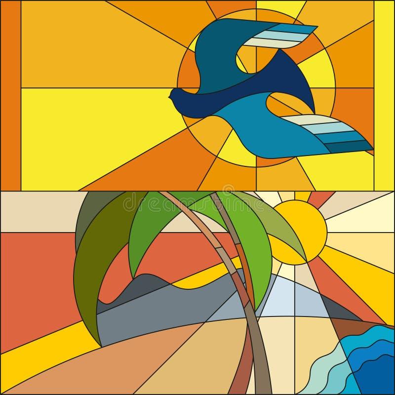 De art decovector kleurde geometrisch patroon Het patroon van het art decogebrandschilderde glas royalty-vrije illustratie