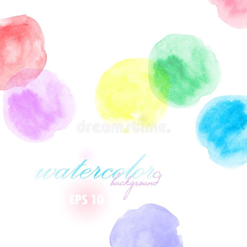 De artistieke achtergrond met borstelslagen in cirkelvorm, waterverf kijkt achtergrond met kleurrijke geschilderde vlekken stock illustratie