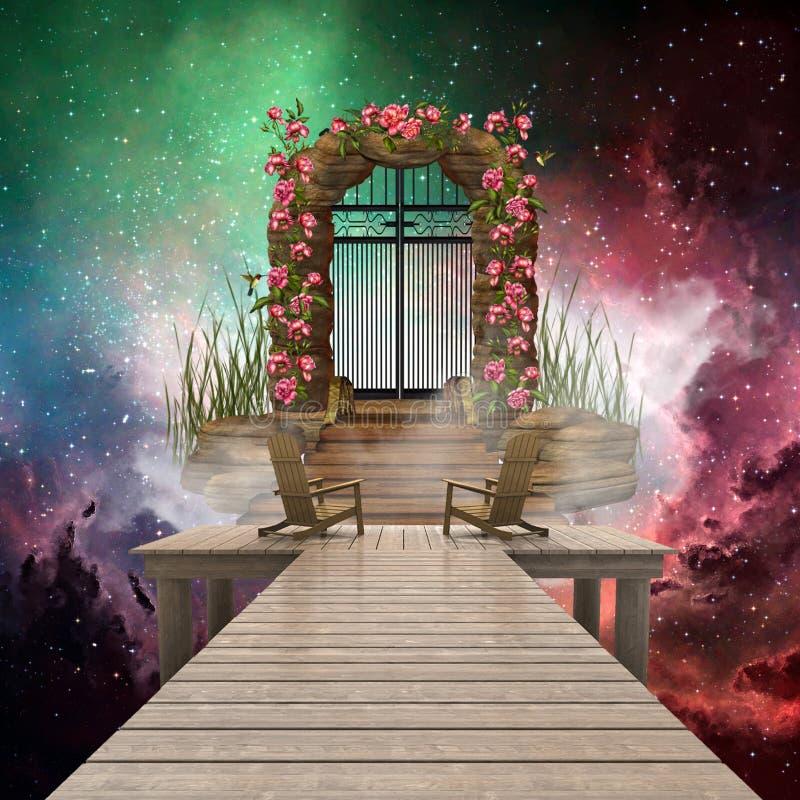 De artistieke Kleurrijke 3d het Teruggeven Computer produceerde Illustratie van een Hemelpoort die tot Een andere Afmeting in Mul stock illustratie