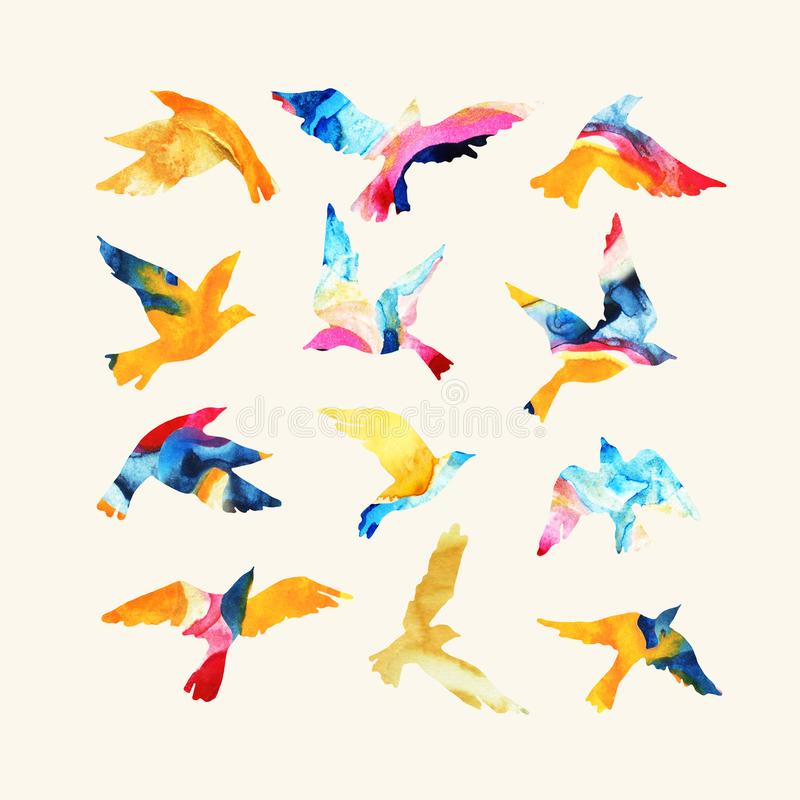 De artistieke silhouetten van de waterverf vliegende die vogel met het mabling van texturen, vloeibare heldere die kleuren worden vector illustratie
