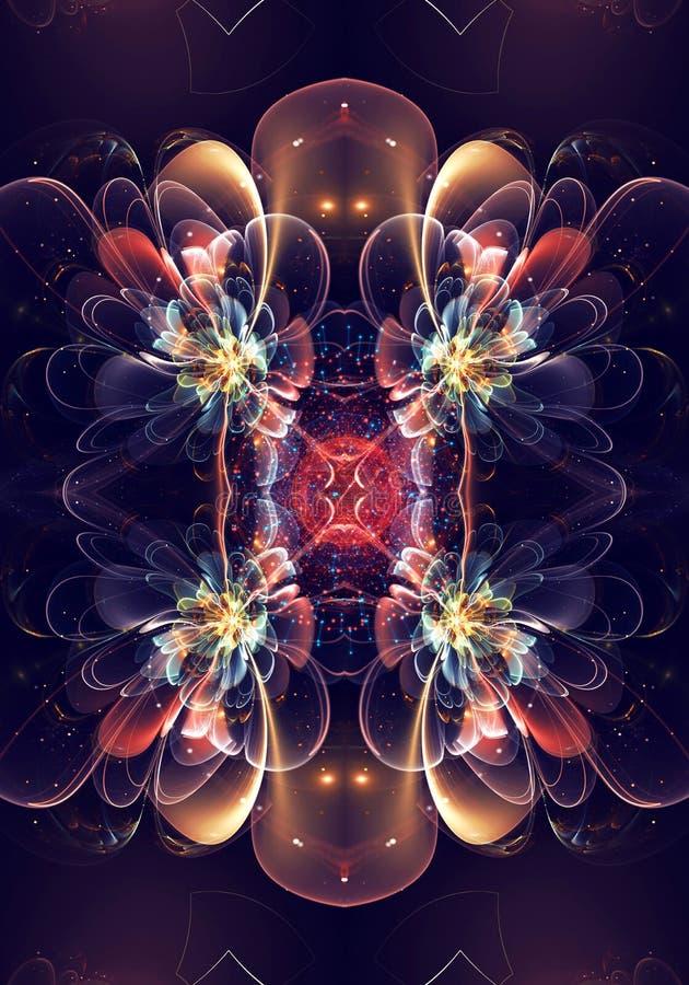 De artistieke Unieke zwarte 3d computer produceerde fractals van een exotisch mooi van het bloemenpatroon kunstwerk als achtergro stock illustratie