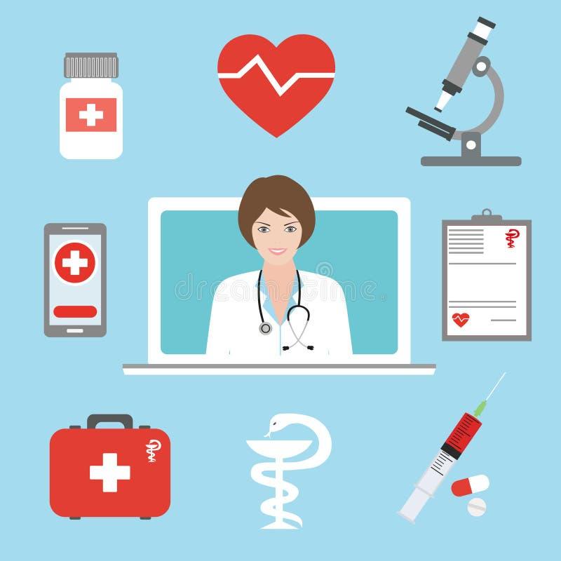 De arts adviseert een patiënt op een tabletcomputer Telegeneeskunde en telehealth vlak conceptenillustratie Tele en verre geneesk royalty-vrije illustratie