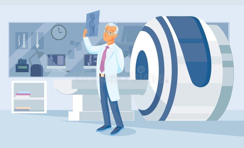 De arts bekijkt pensively een Röntgenstraalschot royalty-vrije illustratie