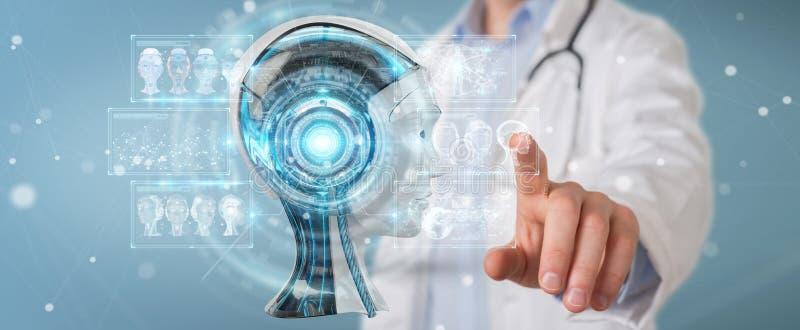 De arts die digitale 3D kunstmatige intelligentieinterface gebruiken geeft terug royalty-vrije illustratie