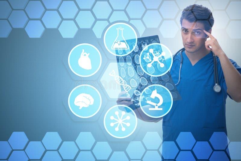 De arts die x-ray beeld in telehealthconcept bekijken vector illustratie
