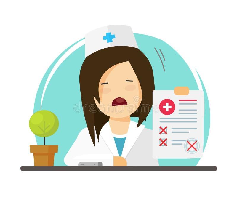 De arts die slechte diagnose tonen vloeit vectorillustratie, de vlakke dokter van de beeldverhaal ongelukkige vrouw, arts met doc royalty-vrije illustratie