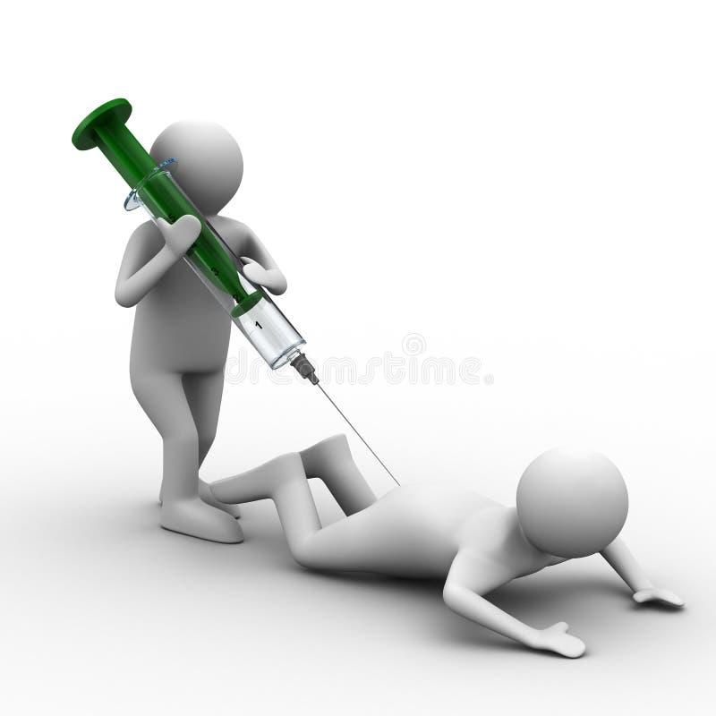 De arts doet injectie aan patiënt royalty-vrije illustratie