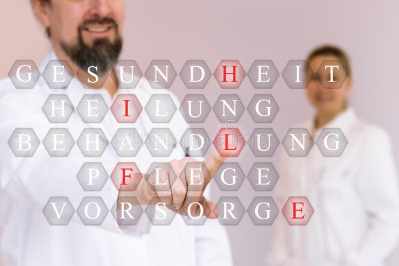 De arts duwt interactieve knopen stock fotografie