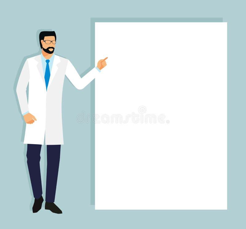 De arts in een witte laag toont zijn vinger op een leeg blad arts en plaats voor uw tekst royalty-vrije illustratie