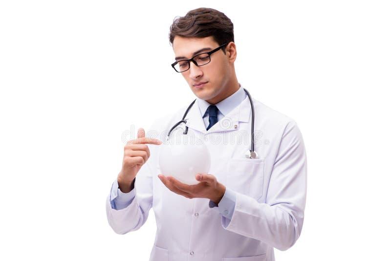 De arts met kristallen bol op witte achtergrond wordt geïsoleerd die stock foto