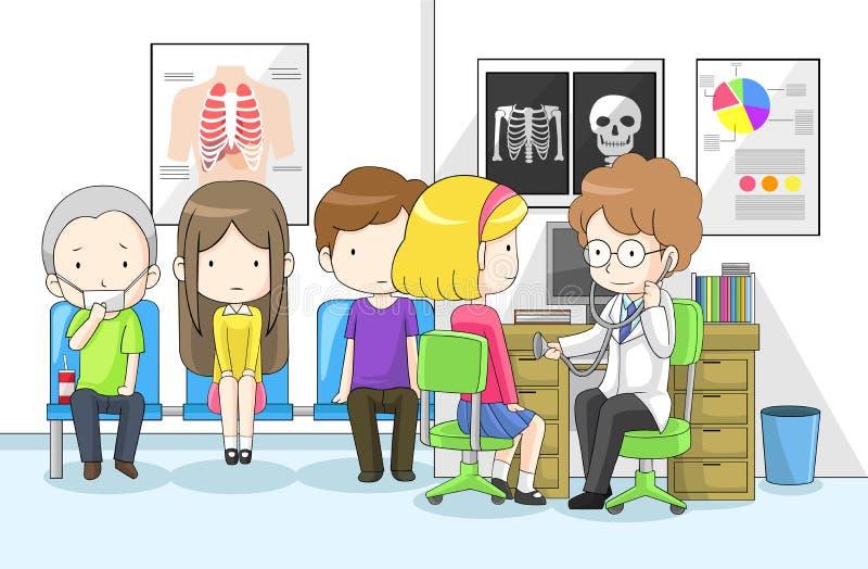 Download De Arts Onderzoekt Groep Kinderen Met Stethoscoop Vector Illustratie - Illustratie bestaande uit kinderen, kliniek: 39101824