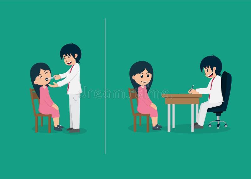 De arts onderzoekt de patiënt En luister aan de resultaten vector illustratie
