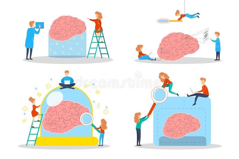De arts onderzoekt reusachtige hersenen Idee van medische behandeling royalty-vrije illustratie