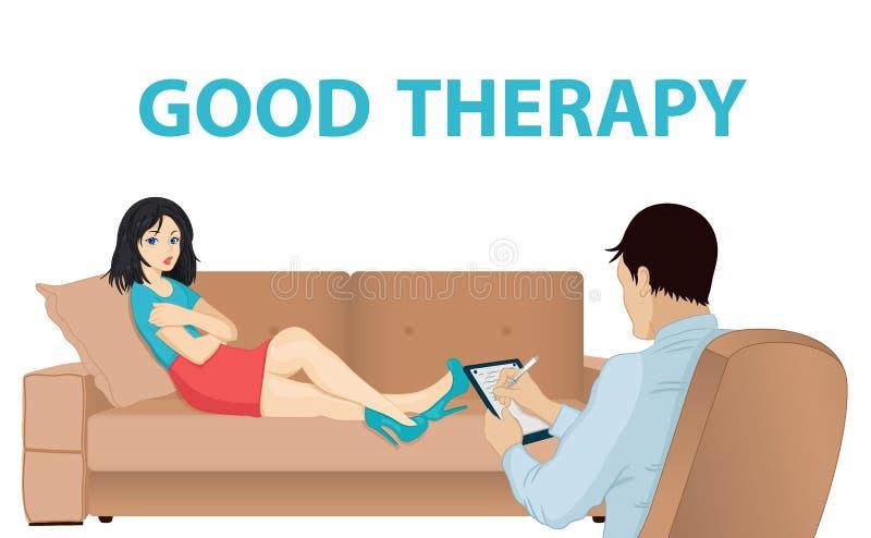 De arts schrijft Psycholoogoverleg Patiënt op bank Het mannelijke psychiater raadplegen Geestelijke gezondheidsproblemen, bureau vector illustratie