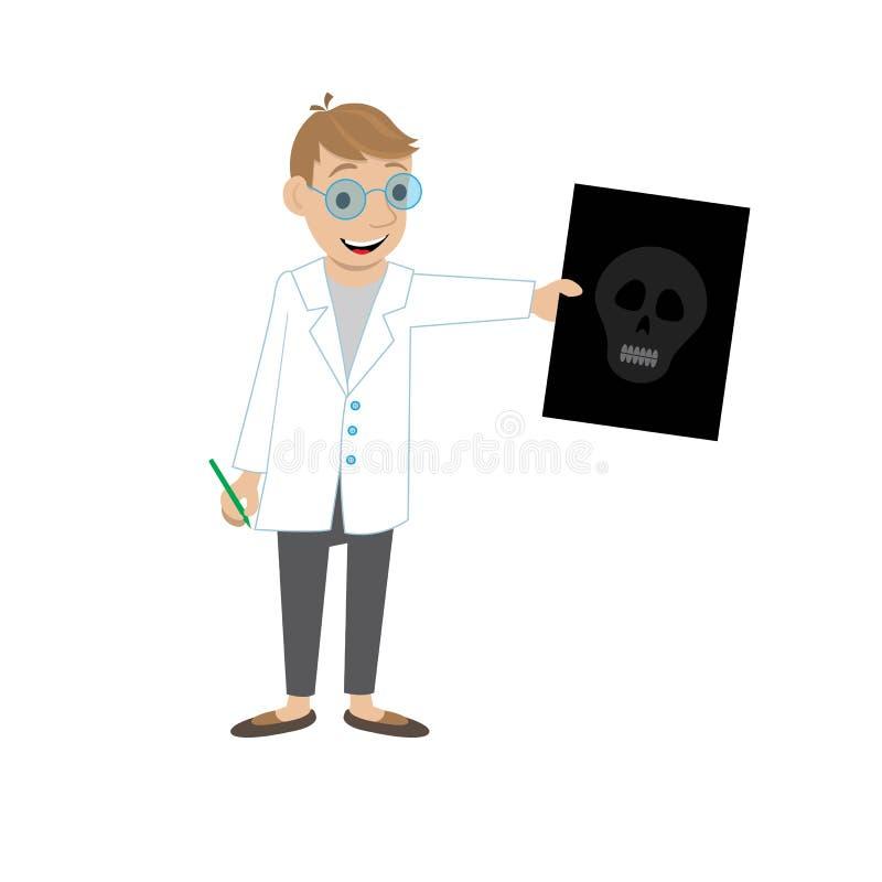 De arts toont een beeld van een schedel vector illustratie