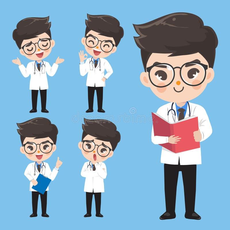 De arts toont een verscheidenheid van gebaren en acties in het werkkleren royalty-vrije illustratie