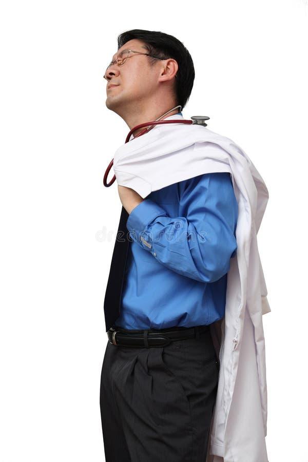 De arts voelt zo vermoeid stock fotografie