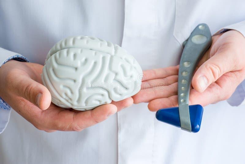De arts of de wetenschapper houden in één handcijfer van hersenen in een andere - neurologische reflex rubberhamer Conceptenfoto  royalty-vrije stock afbeelding