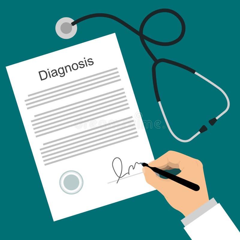 De arts zet handtekening in de diagnoselijst royalty-vrije illustratie