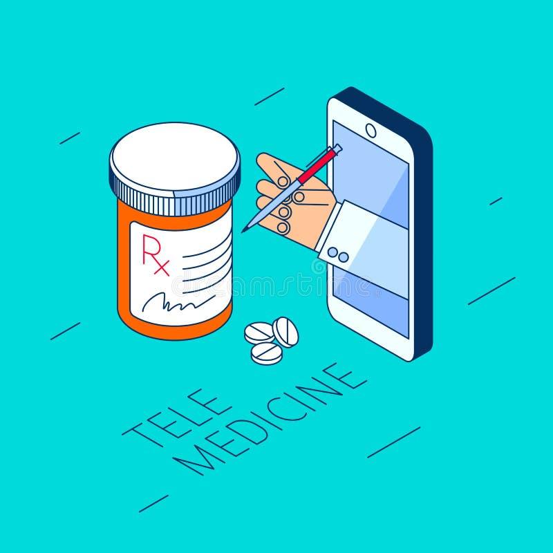 De artsen` s hand houdt pillenfles met drugs en behandeling stock illustratie