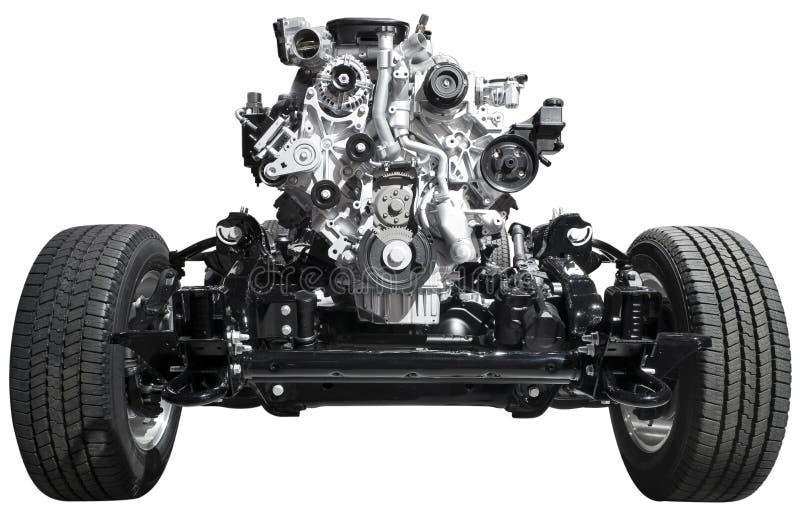 De As van de aandrijving en Motor stock afbeeldingen