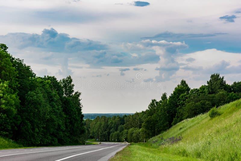 De asfaltweg met noteringen, wordt een windende weg gevestigd tussen bomen en een heuvel met groen gras stock foto's