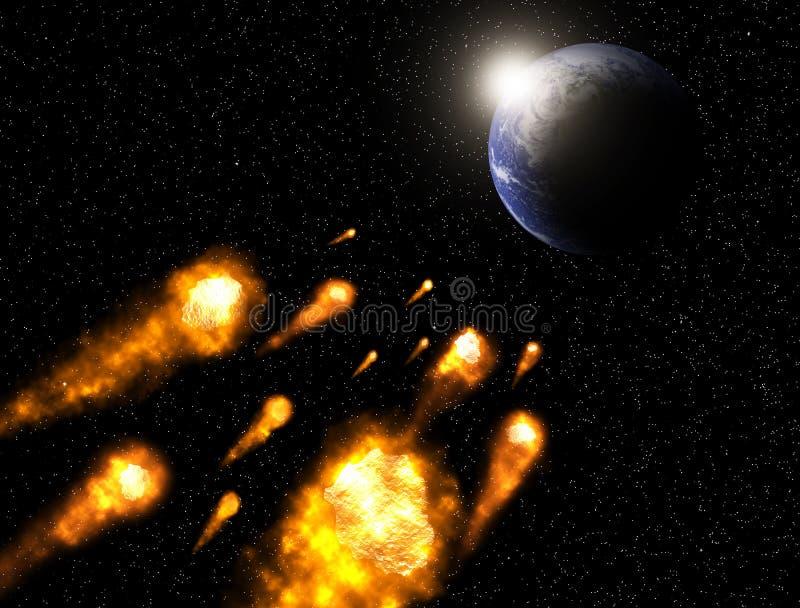 De asteroïde komt aan het aardeelement in botsing van beeld door NASA wordt geleverd die royalty-vrije illustratie