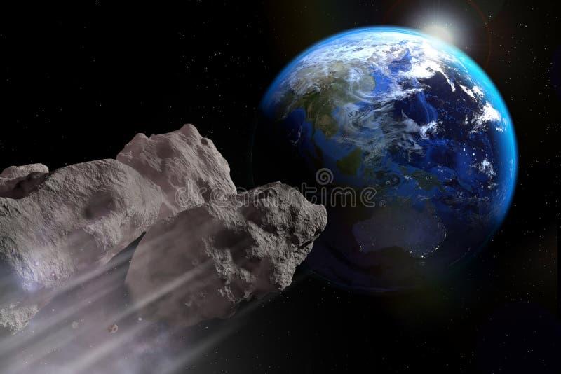 De asteroïde staat aardoppervlak te beïnvloeden op het punt royalty-vrije stock afbeeldingen