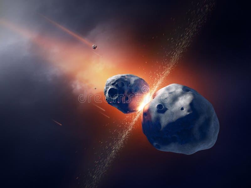 De asteroïden komen en exploderen in ruimte in botsing stock illustratie