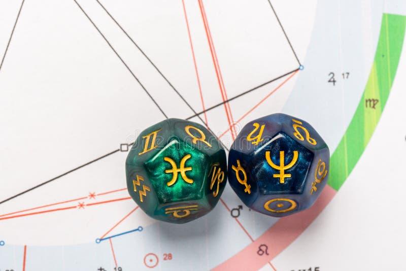 De astrologie dobbelt met dierenriemsymbool van Vissen 19 Februari - breng 20 en zijn uitspraakplaneet Neptunus in de war royalty-vrije stock foto