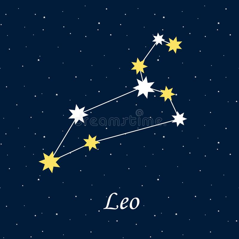 De astrologie van de de dierenriemhoroscoop van de constellatieleeuw speelt nacht mee illustr royalty-vrije illustratie