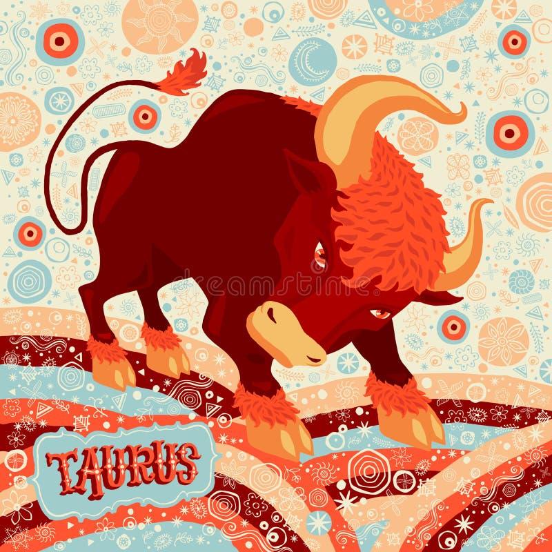 De astrologische Stier van het dierenriemteken Een deel van een reeks horoscooptekens stock illustratie