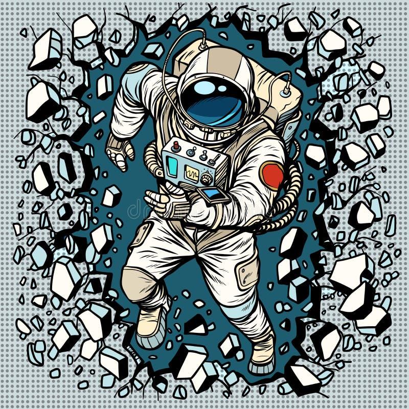 De astronaut breekt de muur, de leiding en de bepaling stock illustratie
