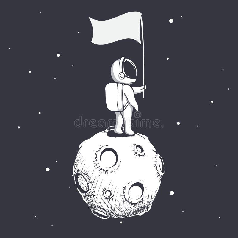De astronaut houdt een vlag op Maan vector illustratie