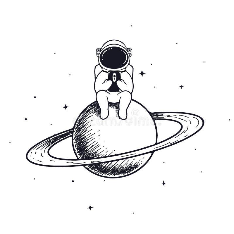 De astronaut houdt mobiele telefoon stock illustratie