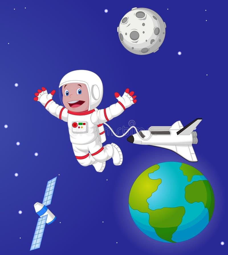 De astronaut in kosmische ruimte vector illustratie