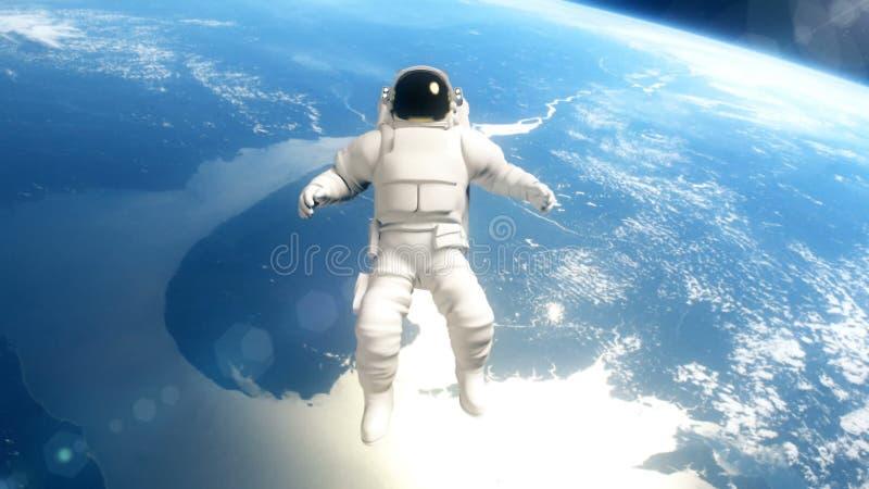 De astronaut in kosmische ruimte vliegt over de Aarde royalty-vrije stock foto's