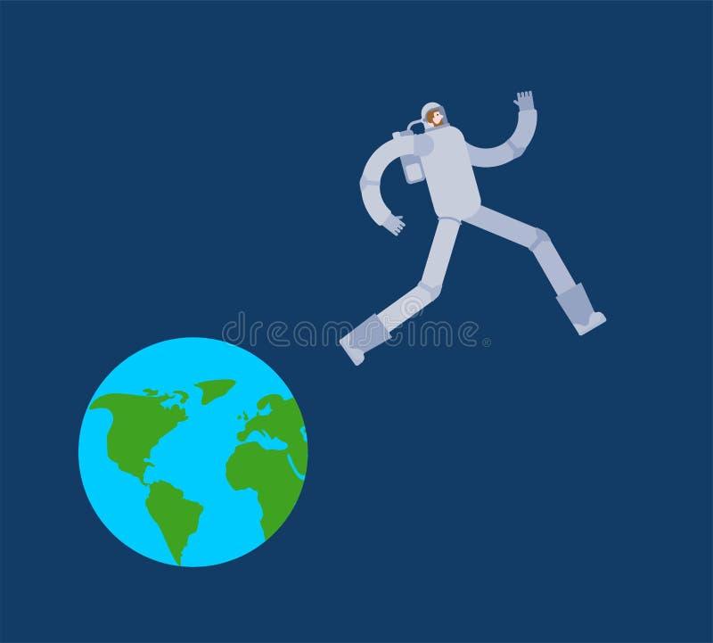 De astronaut loopt Aarde weg Ruimtevaardersvlucht van planeet de kosmonaut vloeit land weg stock illustratie