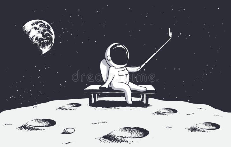 De astronaut maakt selfie op Maan royalty-vrije illustratie