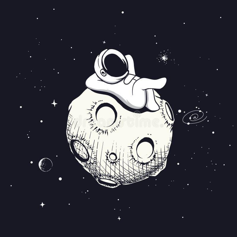 De astronaut ontspant op de maan vector illustratie